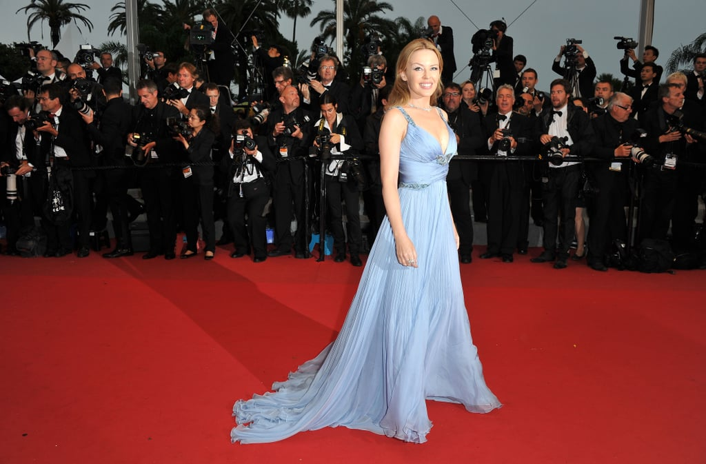 Kylie Minogue stunned in powder blue.