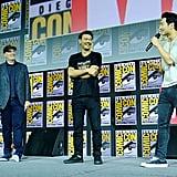 Pictured: Kevin Feige, Destin Daniel Cretton, and Simu Liu at San Diego Comic-Con.