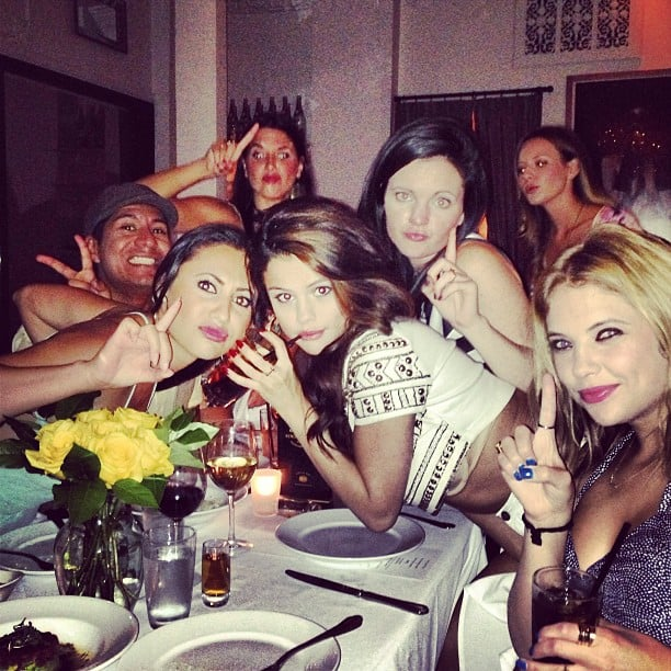 Selena Gomez posed at a dinner table with her friends, including Ashley Benson, for her 21st birthday party. Source:Instagram user itsashbenzo