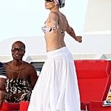 Jennifer Lopez in a bikini on a yacht.