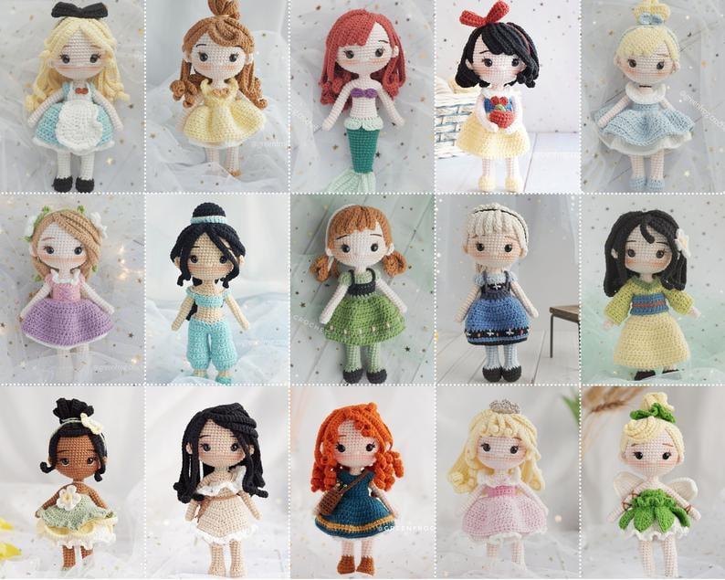 Disney Princess Doll 15 Pattern Bundle