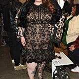 """I'm so behind posting my #nyfw photos, but here is my look for @tadashishoji who is a size inclusive designer, and had plus size models on the runway for the first time ever!! @kellyaugustineb, @itsmekellieb & @littlelimedress & I all said after the show 'finally!' It's amazing seeing designers you love, step up for your community! I'm of course wearing @tadashishoji styled by @littlelimedress 👌🏻💕 #effyourbeautystandards #fatatfashionweek,"" Tess Holliday posted, backing Kellie's vision."