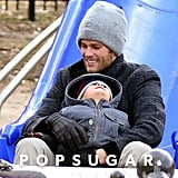 Tom and Benjamin Brady were an adorable father-son duo at the park in Boston.