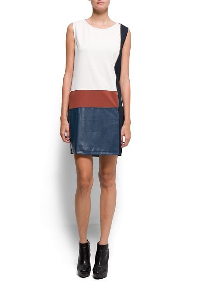 Colorblock for Fall with this geometric Mango Contrasted Panel Dress ($60).