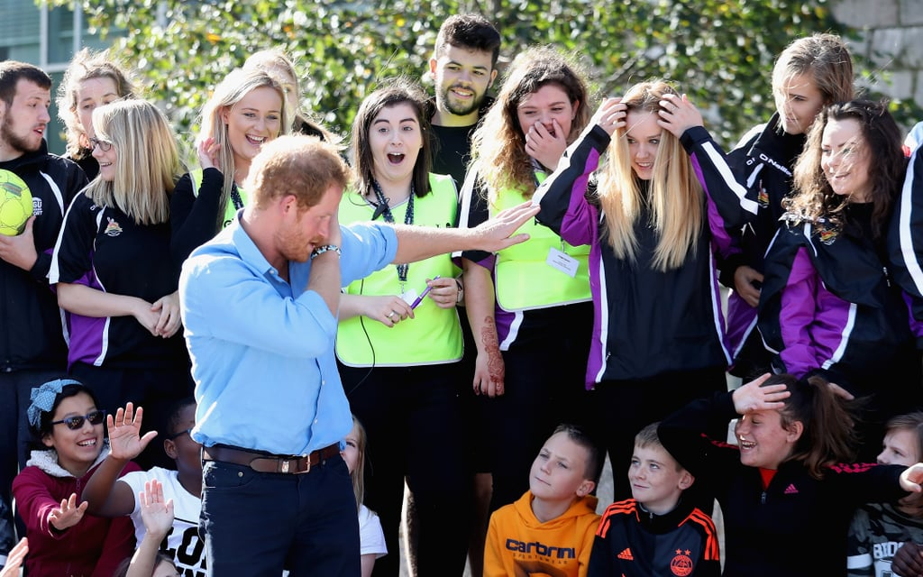 Prince William isn't the only royal with smooth moves. During a special visit to Robert Gordon University in Aberdeen on Tuesday, Prince Harry surprised students when he hit the dab during their mentor training event. While all the kids appeared taken aback, perhaps the best reaction came from a group of girls who stood in the audience and completely freaked out. In addition to showing off his hip dance moves, Harry played football, tennis, and street hockey as part of Denis Law's Streetsport initiative, which delivers free weekly sports and creative activity sessions for young people throughout Aberdeen. We'll definitely have to add this to Harry's growing list of wonderful moments this year.        Related:                                                                                                           19 Times Harry Proved He Truly Is the People's Prince