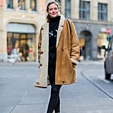 A Big Turtleneck, Black Skinny Jeans, and a Long Shearling Jacket