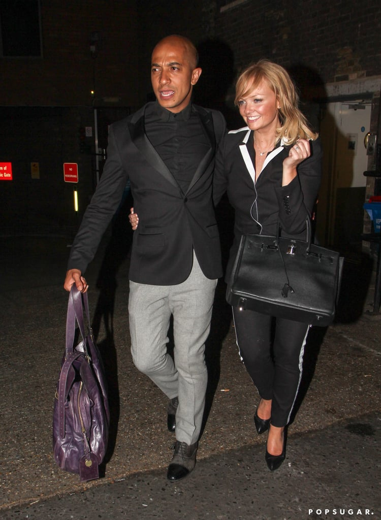 Emma Bunton smiled while leaving the bash.