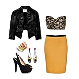 For a night out on the town (or hey, even a bachelorette party) pair a strapless, leopard-print bralet with a colorful pencil skirt and cool-girl leather jacket. Incorporate high heels and some bold, eye-catching jewelry for a fun, unexpected look that definitely doesn't skimp on the sex appeal. Get the Look:  Topshop Animal Print Strapless Bralet ($45) Rika Yellow Yelena Skirt ($270) Zara Sling-Back Peep Toe Heels ($100) Iosselliani Colored Crystal Drop Earrings ($230) Topshop Spike Enamel Ring Stack ($20) DAY Birger et Mikkelsen Cropped Leather Jacket ($450)