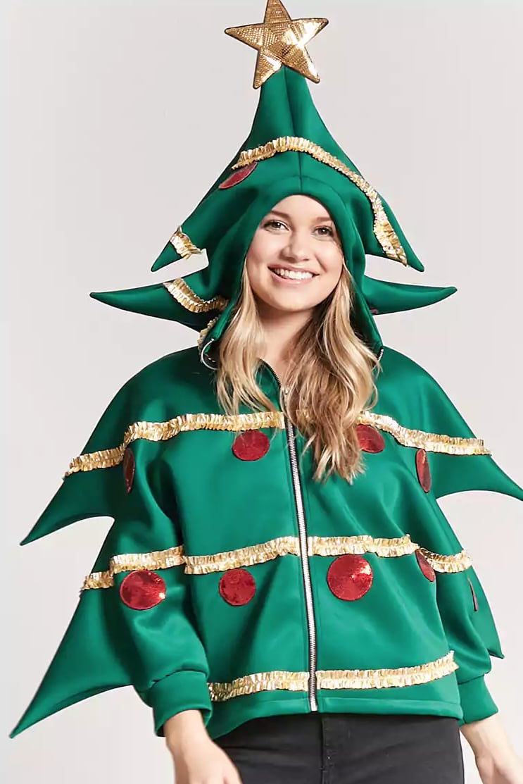 when you zip it up and put the hood on it turns into the shape of an actual christmas tree ornaments included - Christmas Jacket