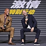 Dwayne Johnson and Jason Statham shared a laugh at a Hobbs & Shaw press panel in China in August 2019.