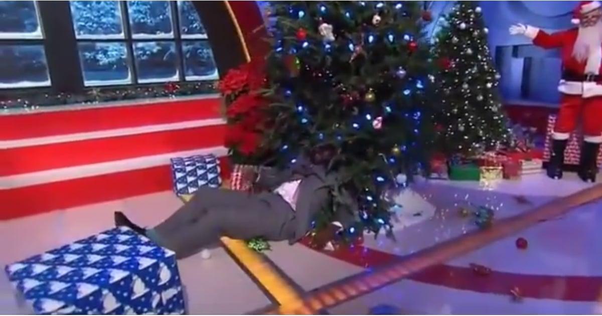 Shaq Getting Shoved Into A Christmas Tree