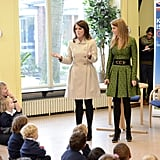 Princess Eugenie teamed up with Princess Beatrice to support the government's GREAT Initiative with a school visit in Berlin, Germany in January 2013.