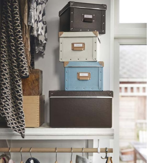 The Fjälla boxes ($4-$11 each) and magazine files ($5 for a set of 2) give your storage closet panache. They feature thoughtful details like metal handles and corner brackets and are made from recycled paper.
