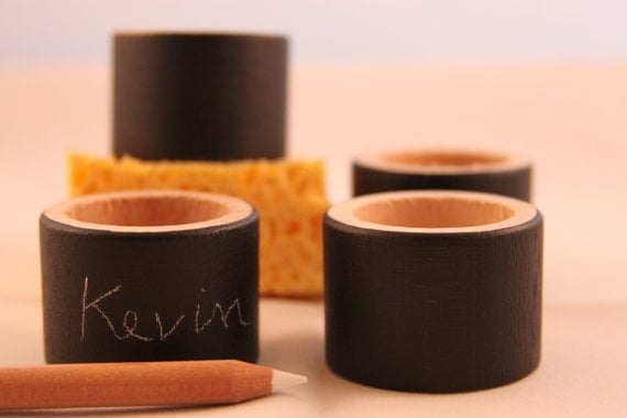 Chalkboard Napkin Rings ($16) are a fun touch at dinner parties because they double as place card holders.