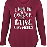 Wine 'Coffee Cats Cuss Words' Long-Sleeve Tee - Plus