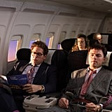 The business partners decompress in first class.