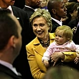 Hillary Clinton held onto a young supporter during a 2004 campaign stop in Manassas, VA.