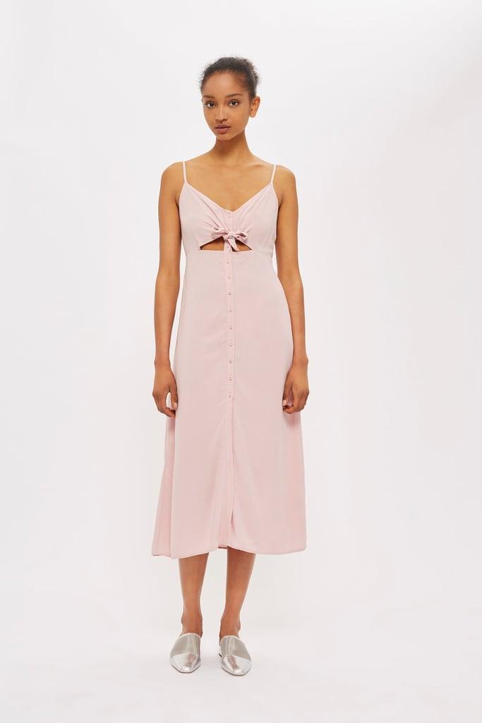Topshop Knot Front Midi Dress Pink Dresses Popsugar Fashion Photo 5