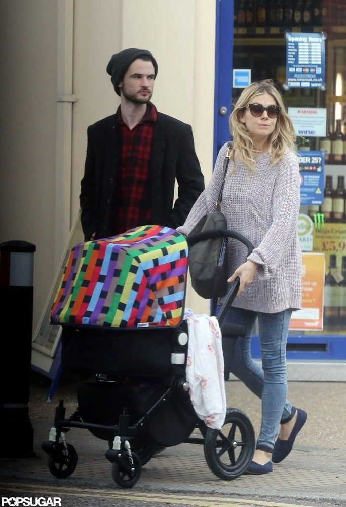 Sienna Miller and Tom Sturridge brought their baby daughter, Marlowe Sturridge, out for a walk in London today. The trio strolled to a local café and checked out real estate listings on their way back home. Marlowe's been getting her first looks at her hometown over the last week. Just a few days ago, we had a first look at Sienna Miller's baby when the proud new mom went for a stroll near her place with big sister Savannah Miller. Sienna and Tom welcomed Marlowe into the world just last month. They've both been able to fully focus on their young family, but Tom will return to a bit of work this Thursday for the UK premiere of his new movie, On the Road.