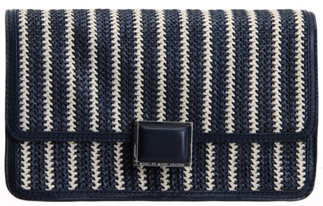 """""""I plan on swapping out my leather clutches for this woven raffia rendition. The navy and white stripes inject the perfect nautical touch."""" — Chi Diem Chau, associate editor  Marc by Marc Jacobs Woven Clutch ($278)"""