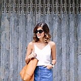 Wearing: DIY skirt, J.Crew tank and bag, Kurt Geiger heels