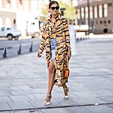 A bold animal print makes a denim miniskirt feel fierce.