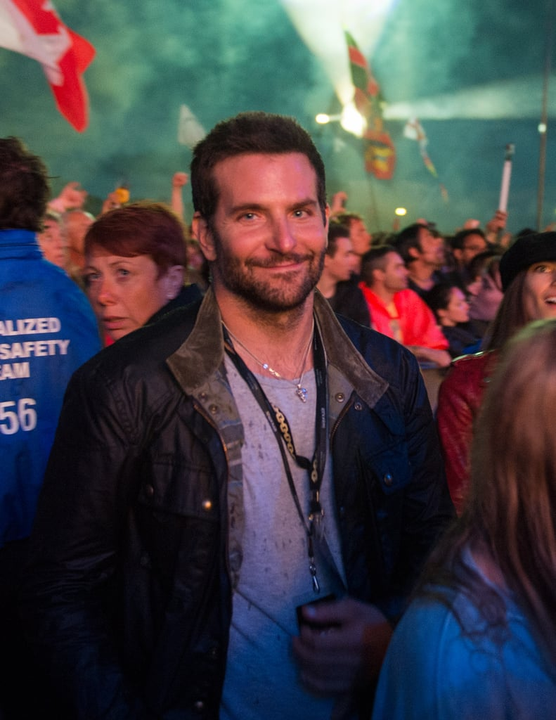 Bradley Cooper watched the Metallica show at Glastonbury in England on Saturday.