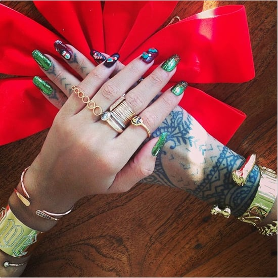 Rihanna Christmas Nail Art