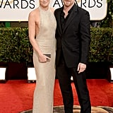 Newly engaged couple Robin Wright and Ben Foster posed for pictures at the Golden Globes.