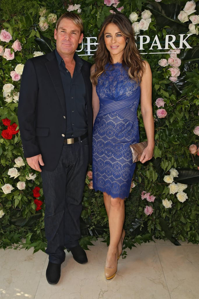 Shane Warne was on hand to support his lady Liz Hurley as she was announced as the new face of Queenspark in Sydney today.