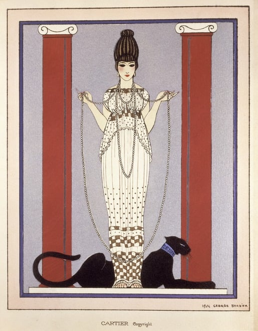 The panther would become a main image for Cartier. Here is a '20s-era advertisement for Cartier, emblematic of the art deco period, with the panther at the feet of a very stylish woman.