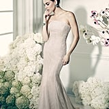 Truly Zac Posen Strapless Champagne Chantilly Gown