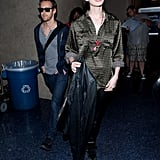 Anne Hathaway wore a silk shirt.