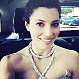 Jessica Biel snapped a photo of her Bulgari serpent necklace while en route to the Inside Llewyn Davis premiere. Source: Jessica Biel on WhoSay