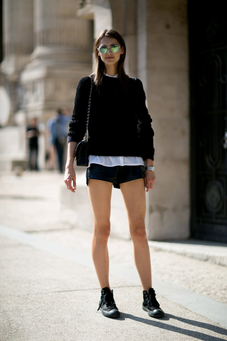 Short Shorts And Big Shades Model Street Style Paris Fashion Week Spring 2014 Pictures