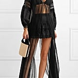 Charo Ruiz Indira Crocheted Lace-Paneled Cotton Cover-Up