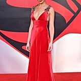 When She Wore a Custom Red Prada Dress on the Red Carpet For the Batman V Superman: Dawn of Justice Premiere