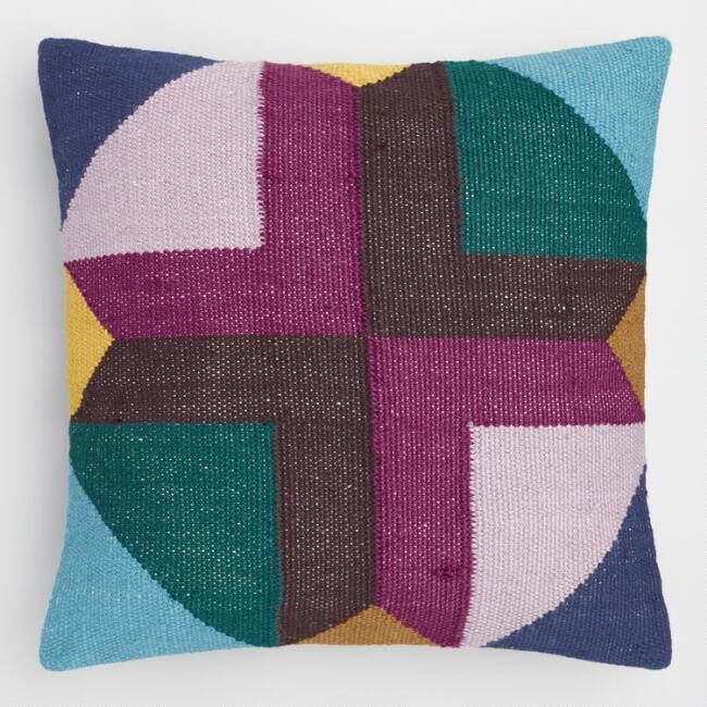 Multicolored Geometric Maya Indoor Outdoor Throw Pillow