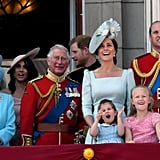 Prince Charles stood close to Kate and his grandchildren during the 2018 Trooping the Colour.