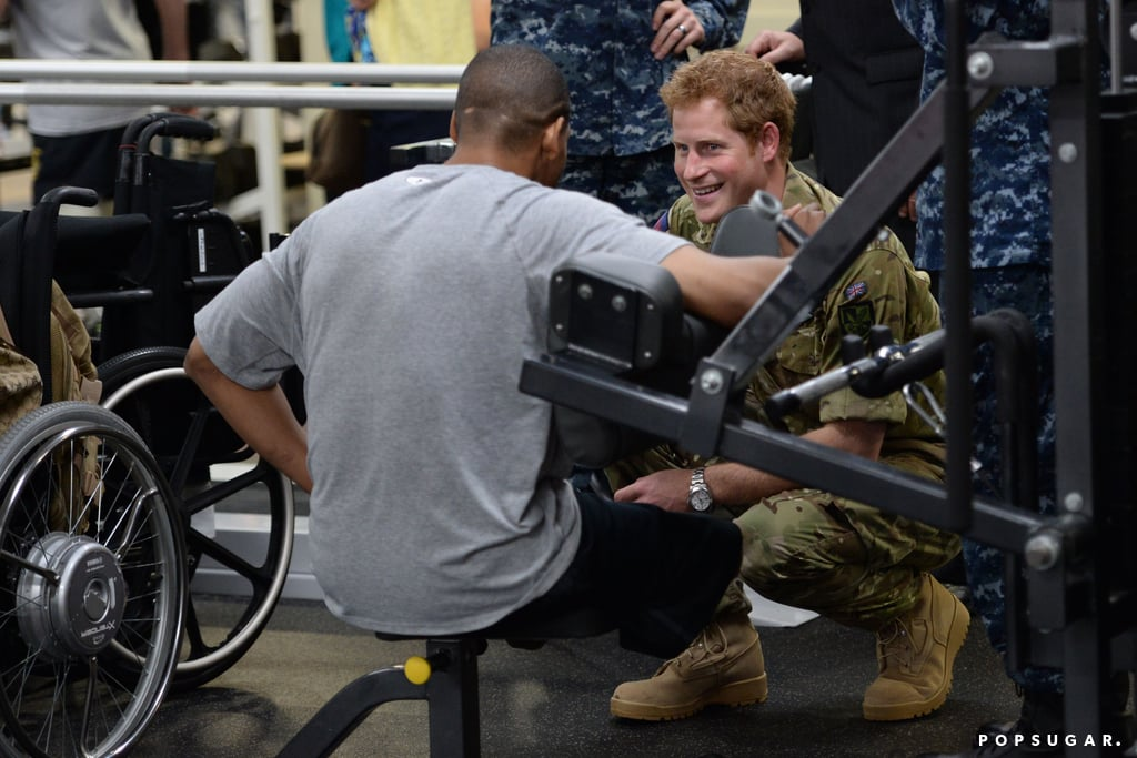 Prince Harry joked around with injured vets at the Walter Reed Memorial Hospital for Injured Servicemen.