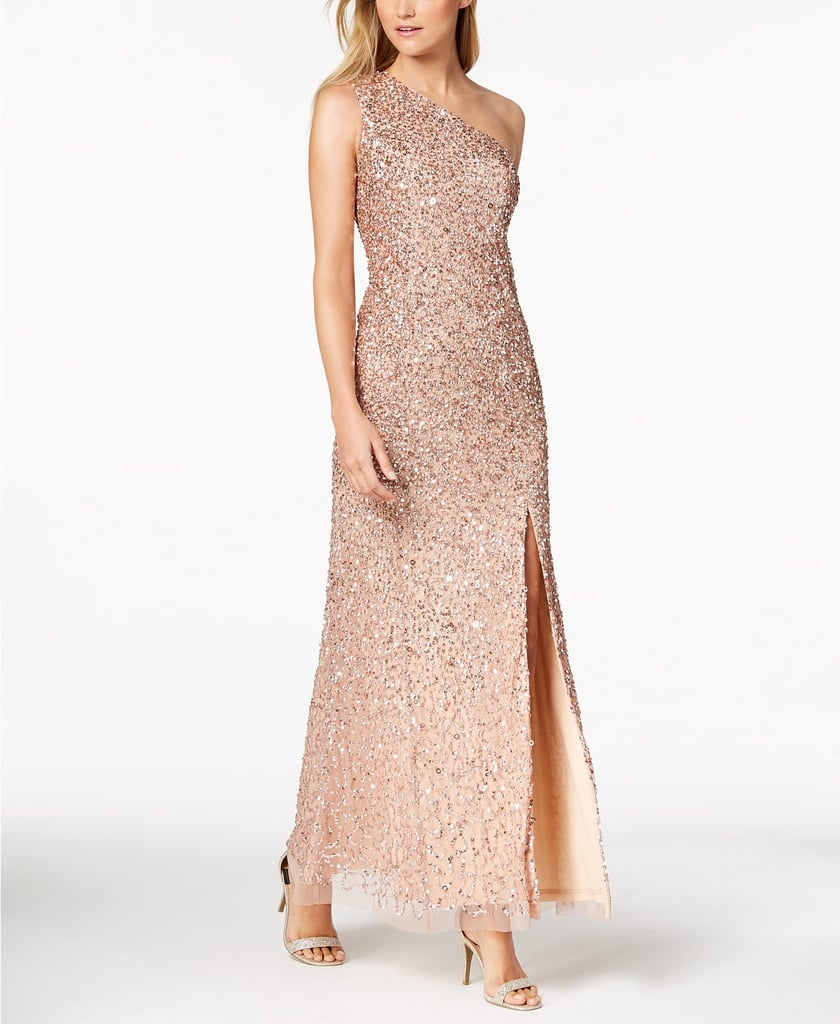 Adrianna Papell One-Shoulder Sequined Gown | Becca Kufrin Sequin ...