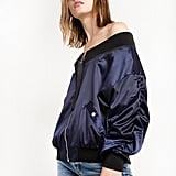 Pixie Market Navy Crop OTS Bomber Jacket ($84)