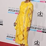 Kerry Washington wore a yellow dress to the American Music Awards.