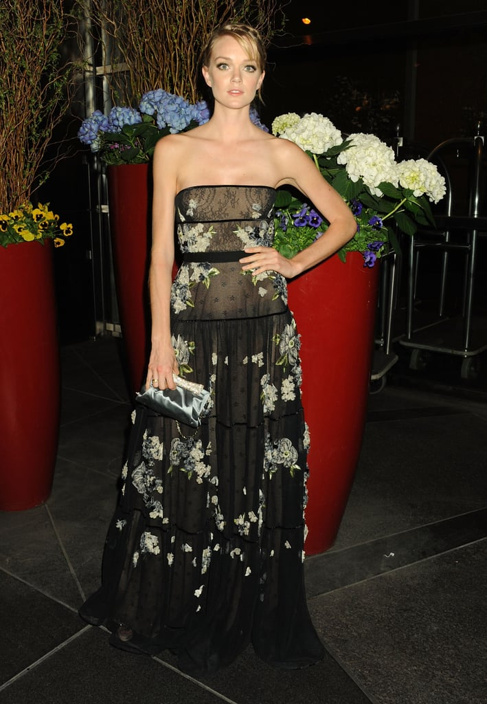 Lindsay Ellingson posed in a floral-tinged black Valentino gown at the New Yorkers For Children Spring dinner dance.