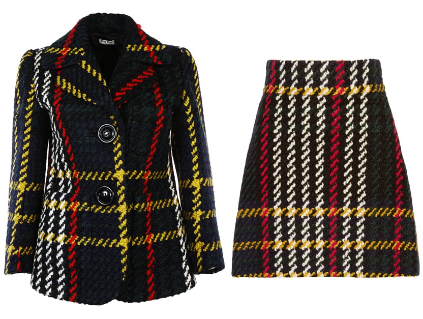 Miu Miu Tartan Bouclè Jacket ($1,476) and Plaid Wool Mini Skirt ($960)
