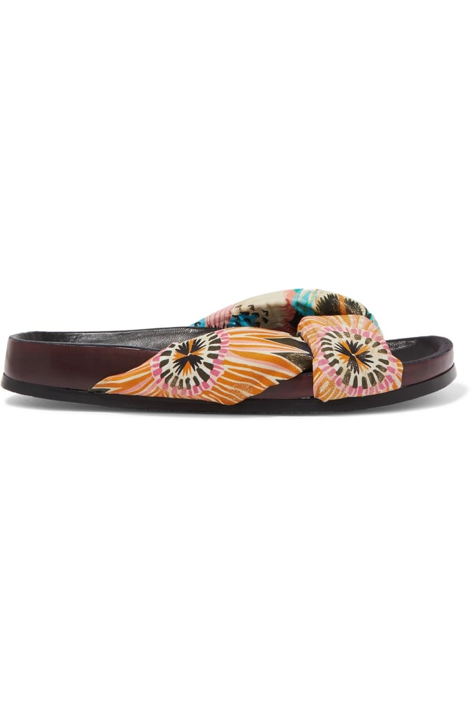 Chloé Floral-Print Satin and Leather Slides
