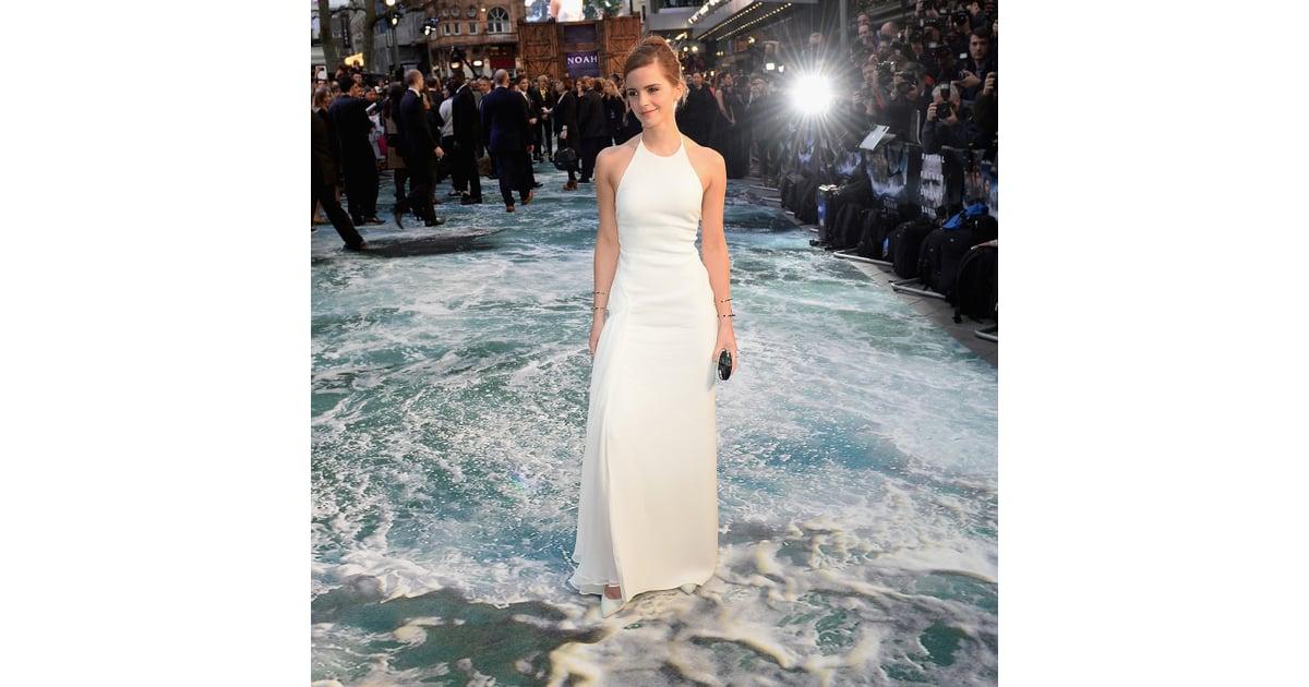 Emma Watson\'s White Ralph Lauren Gown at Noah UK Premiere   POPSUGAR ...