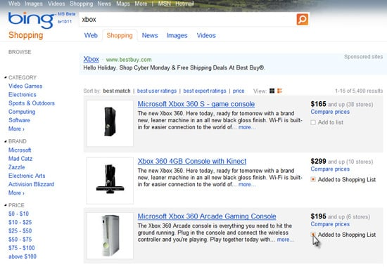 Bing Unveils New Shopping List Feature