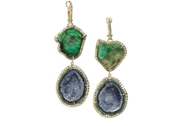 Kimberly McDonald 18-Karat Gold, Diamond, and Emerald Earrings ($21,635)
