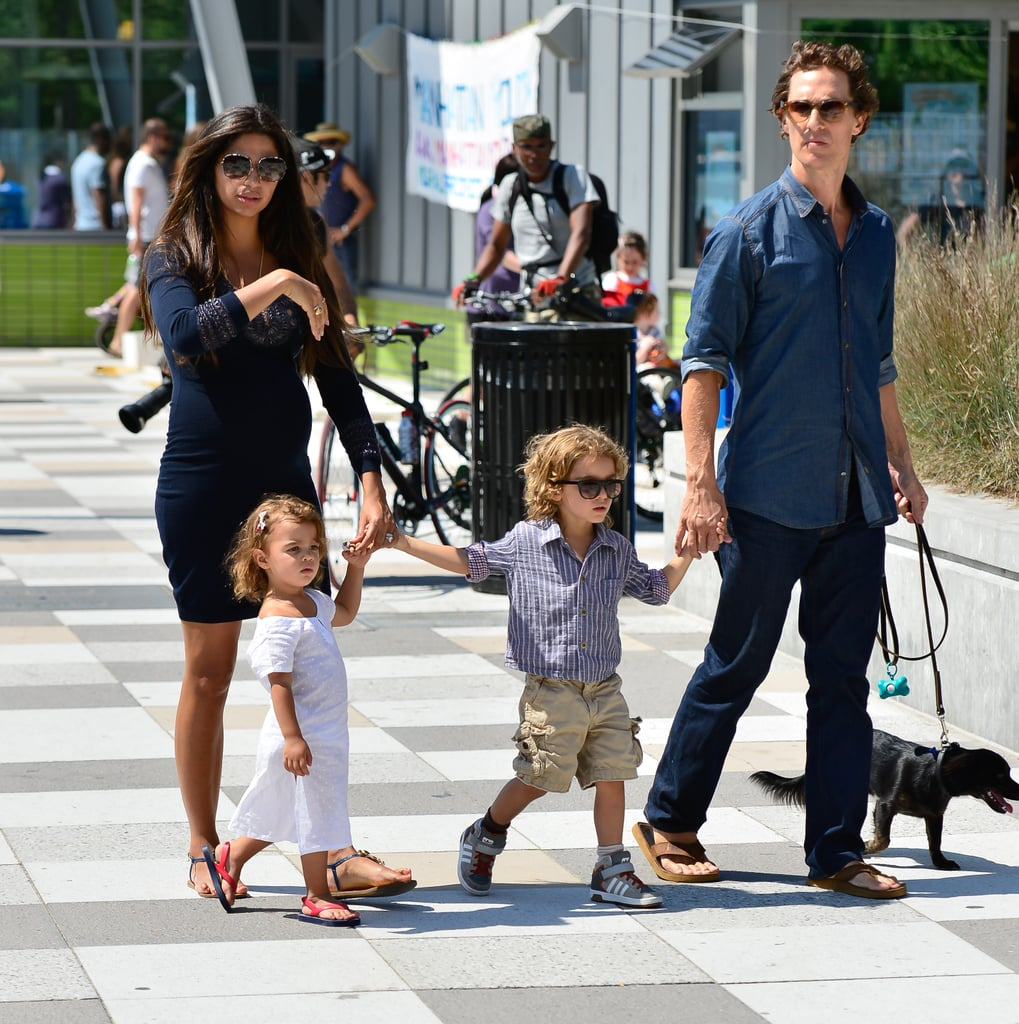 Matthew McConaughey and wife Camila took their cute (and growing!) family for a stroll around TriBeCa in New York on August 26.